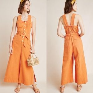 Anthropologie Cape Cod Wide Leg Belted Jumpsuit